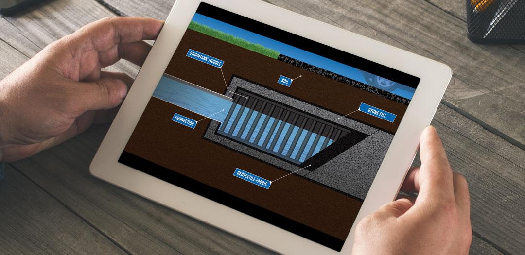 iPad with StormTank cutaway graphic