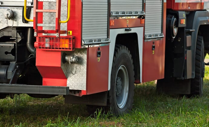 GroundPro GRS on grass with firetruck on top